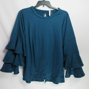NY Collection Blue Ruffled Sleeve Top 1X $49.00